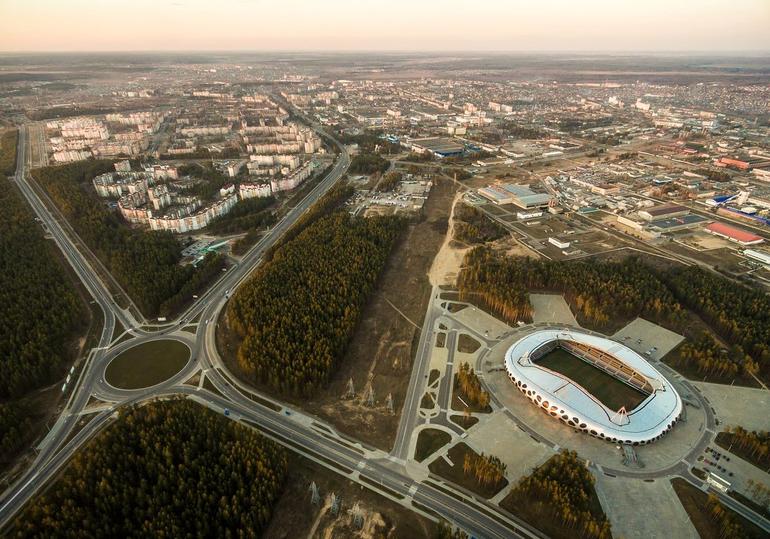 Вид сверху на город Борисов